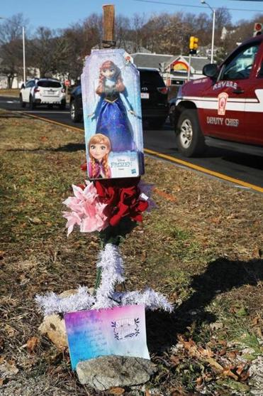 Revere, MA - 12/10/18 A small memorial has been started at the intersection of Route 145 and North Shore Road in Revere. Autumn L. Harris, 42, was arraigned in Chelsea District Court, on motor vehicle homicide and negligent operation of a motor vehicle charges. She is accused of hitting five people with her SUV on Sunday. A 5-year-old girl died at the scene. A 2-month-old had life-threatening injuries Photo by Pat Greenhouse/Globe Staff Topic: 11revere Reporter: Travis Andersen